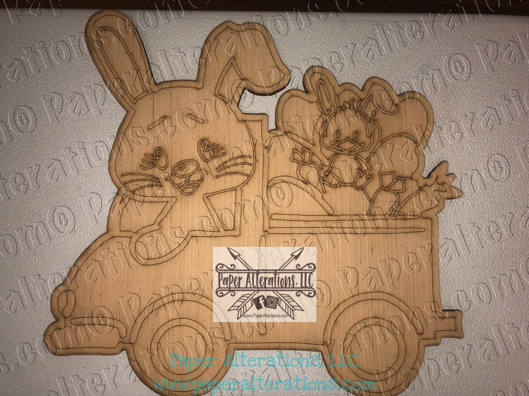 Painted - Bunny in Truck with Chick