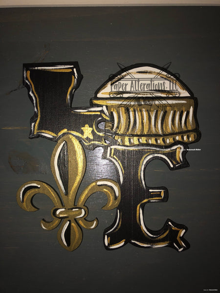 Painted - Louisiana Love with Fleur De Lis and Dome