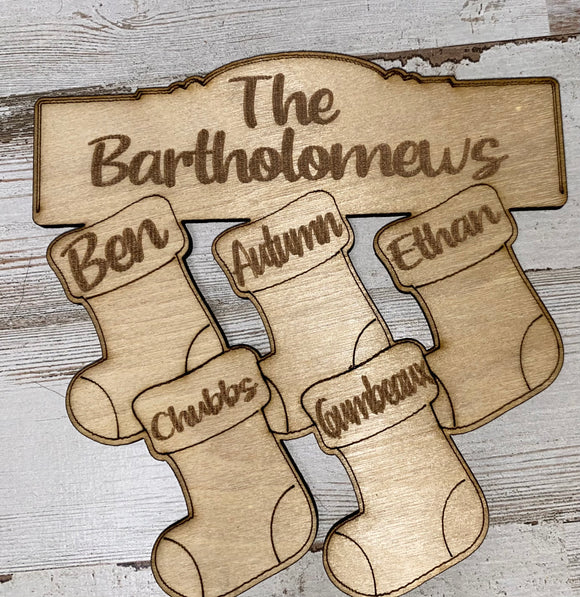 Personalized Stocking Family Ornament