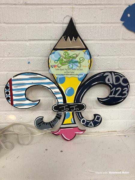 Painted - Teacher/School Fleur de Lis