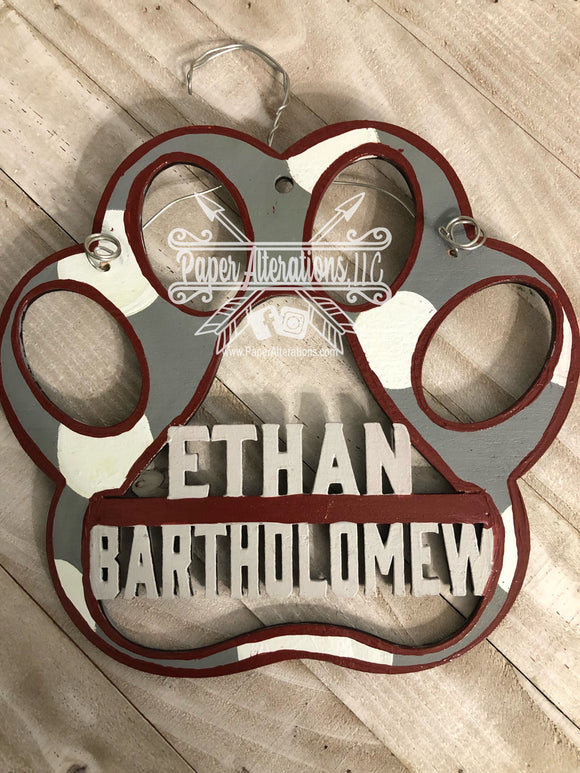 Painted - Paw Print Carpool Hanger Personalized
