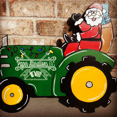 Painted - Santa on a tractor