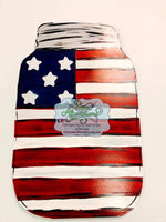 Painted - Patriotic Mason Jar with 3D Stars
