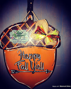 Painted - Happy Fall Ya'll Acorn 3D