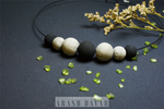 Choker necklace - 7 beads - Black-Gray