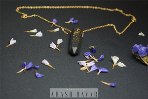 Black & Gold Necklace - Gold Filled Chain