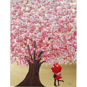 Picture Touched Flower Couple Gold Pink 160x120cm