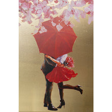 Load image into Gallery viewer, Picture Touched Flower Couple Gold Pink 160x120cm