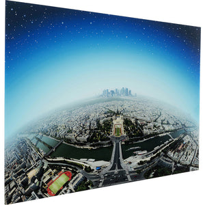 Picture Glass Planet Paris 100x150cm