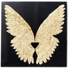 Load image into Gallery viewer, Wall Decoration Wings Gold Black 120x120cm