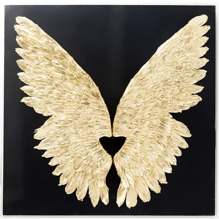 Wall Decoration Wings Gold Black 120x120cm