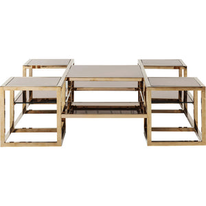 Coffee Table Steps Gold 120x120cm
