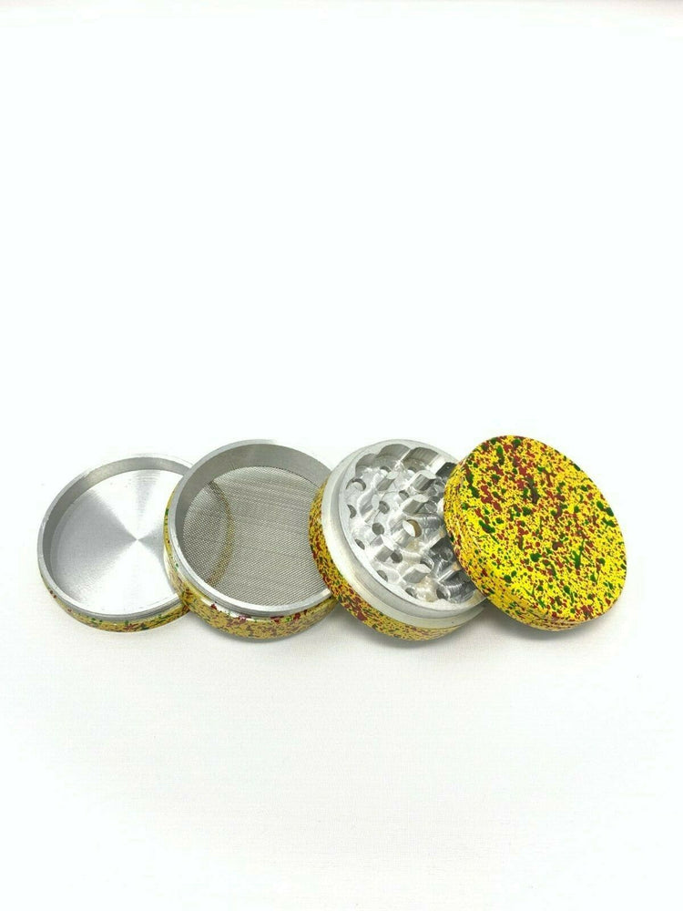 4 Piece Magnetic 2.25 Inch Yellow Confetti Metal Grinder
