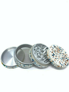 4 Piece Magnetic 2.25 Inch Silver Tobacco Spice Metal Grinder w/ Sharp Teeth