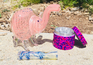 "3"" Collectible Dry Herb Elephant Glass Hand Pipe w/ Chillum and 42mm Grinder"