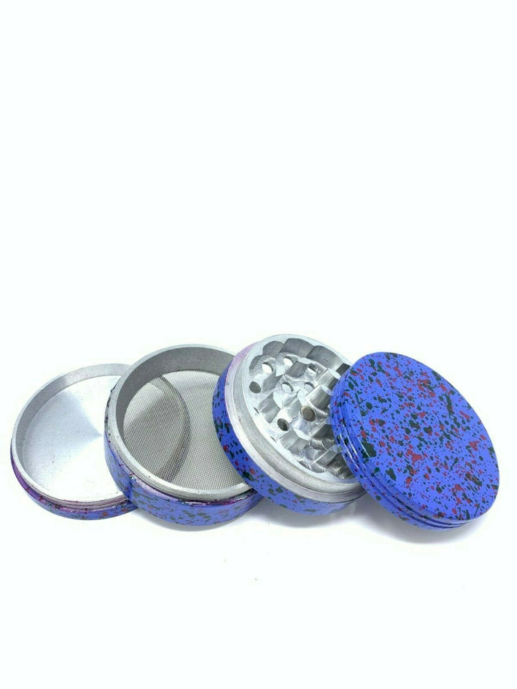 4 Piece Magnetic 2.25 Inch Purple Confetti Metal Grinder