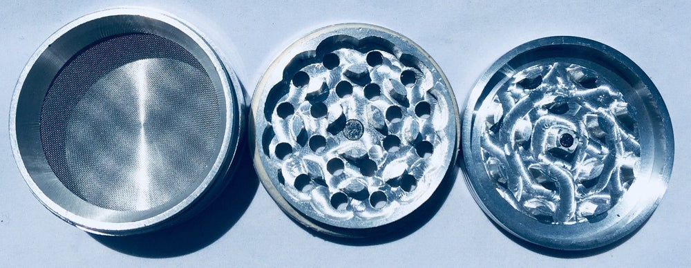 Light Steel Blue 4 Piece Magnetic 3 Inches Silver Metal Grinder StonedGenie.com Grinders