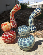 "6"" Premium Glass Cheetah Print Glass Bubbler Smoking Pipe"