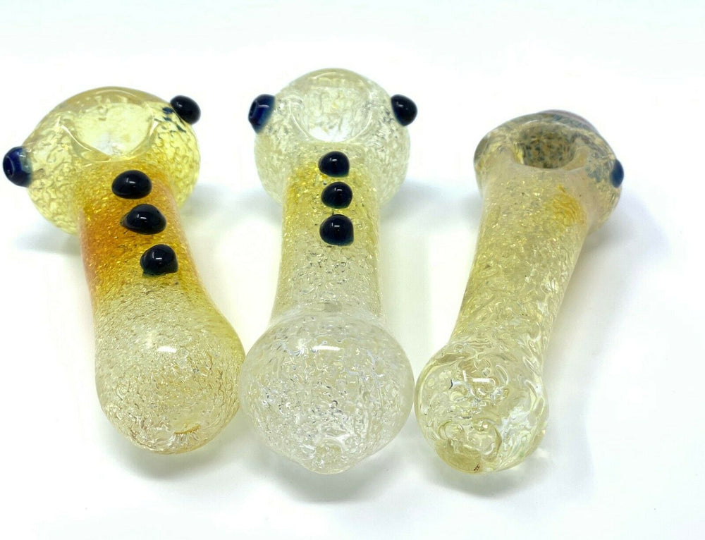 "Tan 4"" Collectible Crackle Design Glass Hand Smoking Pipe w/ Carb Hole StonedGenie.com Glass Pipes"
