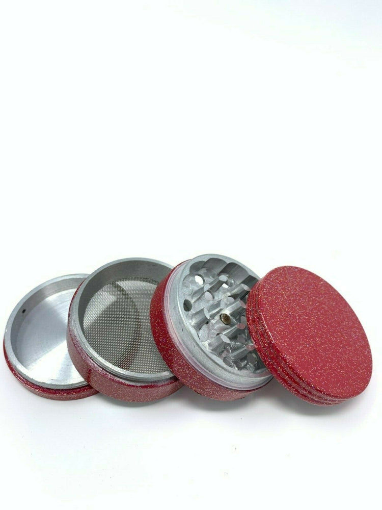 4 Piece Magnetic 2 Inch Sparkling Red Metal Grinder
