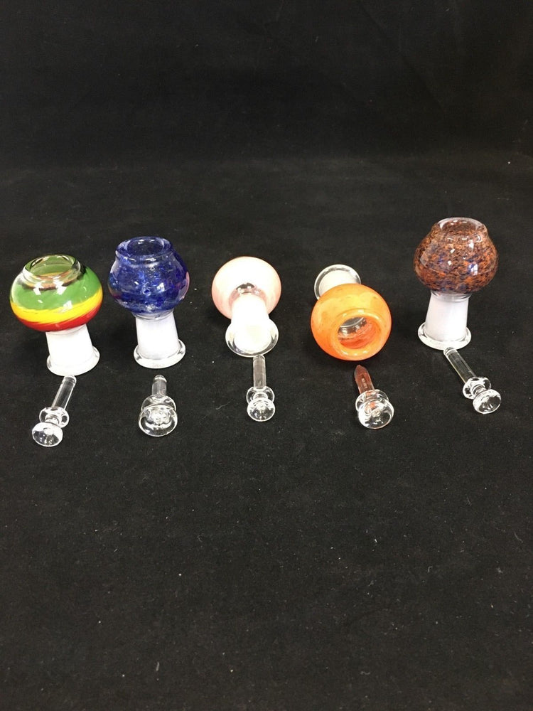 18mm Bowl Female Dab Rig Bowl Piece w/ Glass Nail Assorted Colors