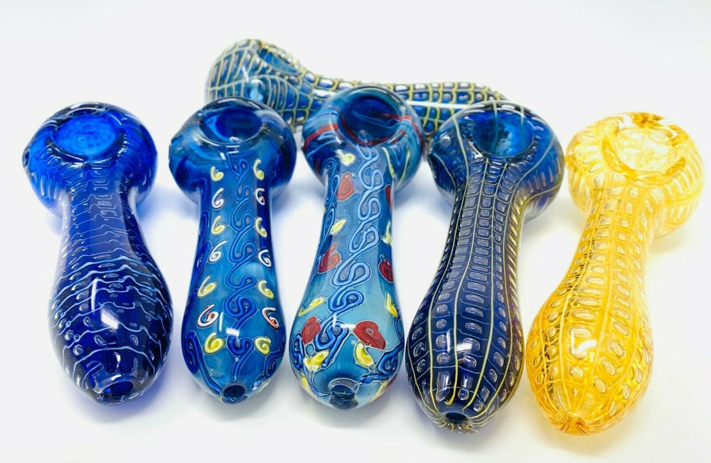 "5"" Collectible Thick Glass Designer Hand Smoking Pipe Assorted Designs"
