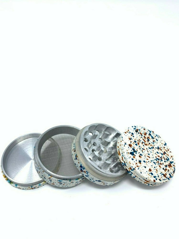 4 Piece Magnetic 2.25 Inch White Confetti Metal Grinder