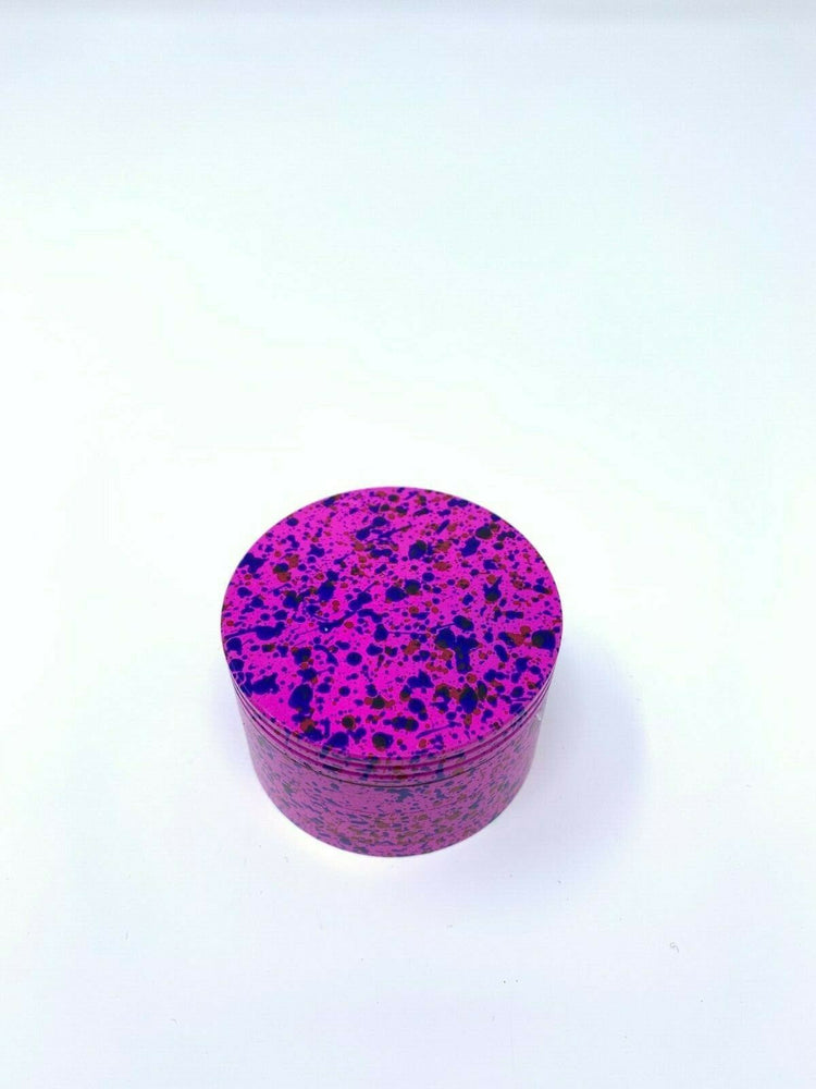 4 Piece Magnetic 2.25 Inch Pink Confetti Metal Grinder