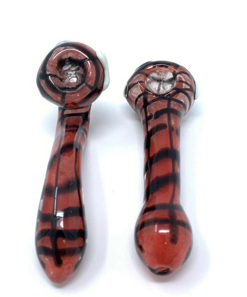 "4"" Collectible Red/Black Glass Hand Smoking Two Pipe Combo Set"