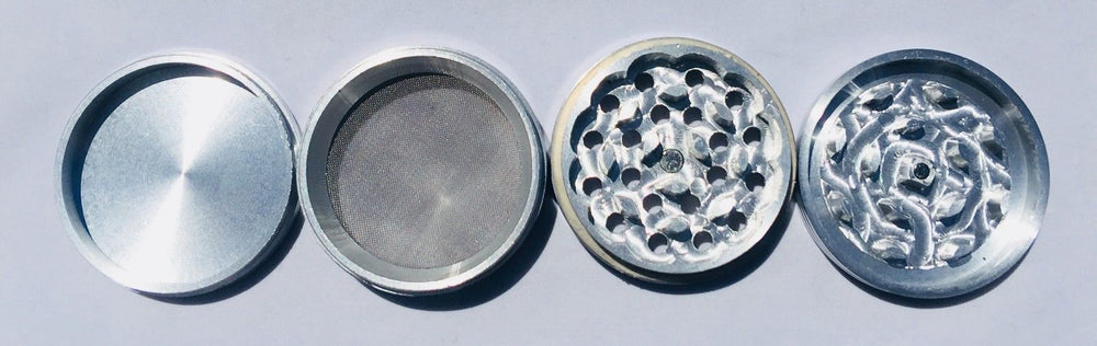 Gray 4 Piece Magnetic 3 Inches Silver Metal Grinder StonedGenie.com Grinders