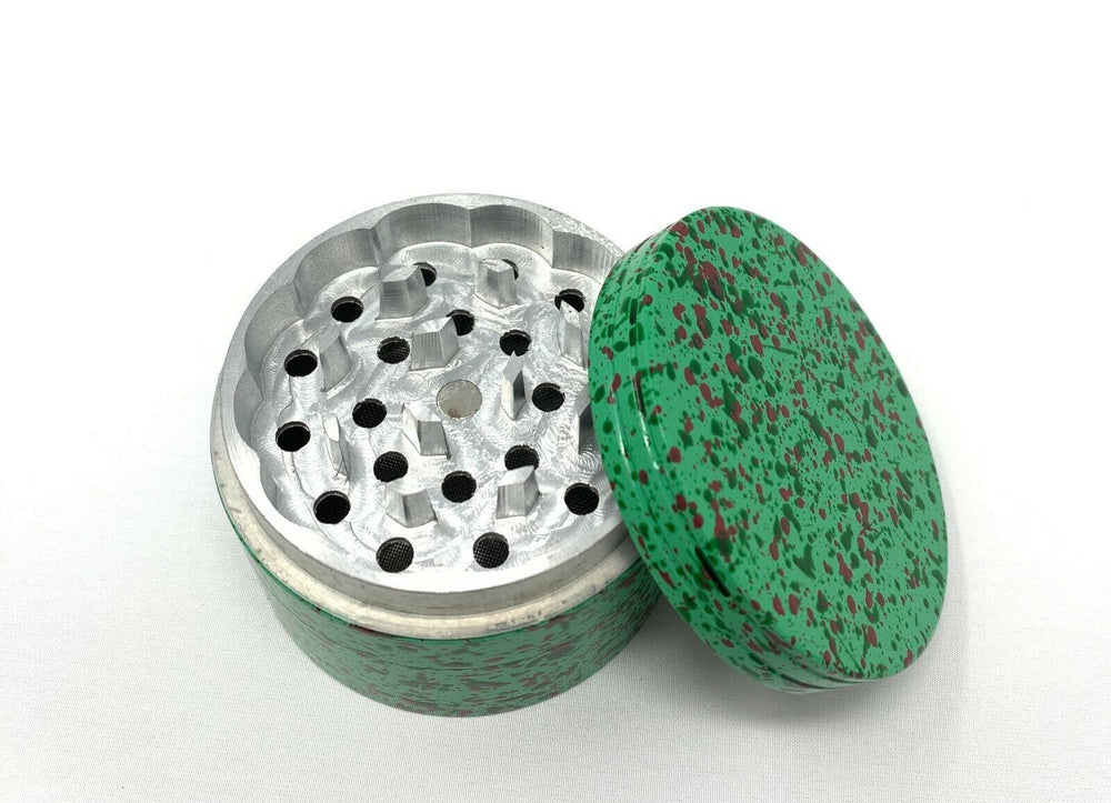 4 Piece Magnetic 2.25 Inch Green Confetti Metal Grinder