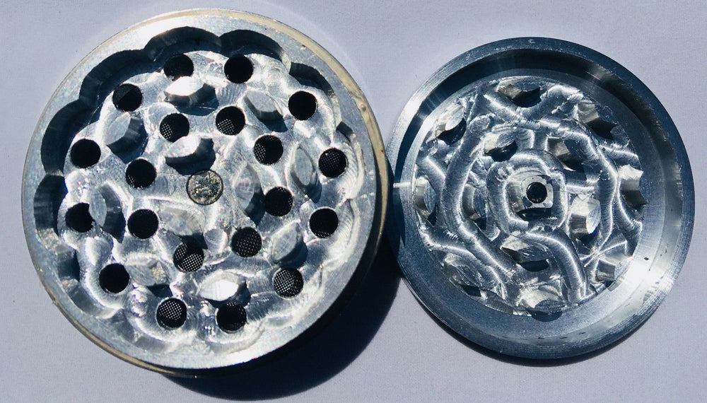 Black 4 Piece Magnetic 3 Inches Silver Metal Grinder StonedGenie.com Grinders
