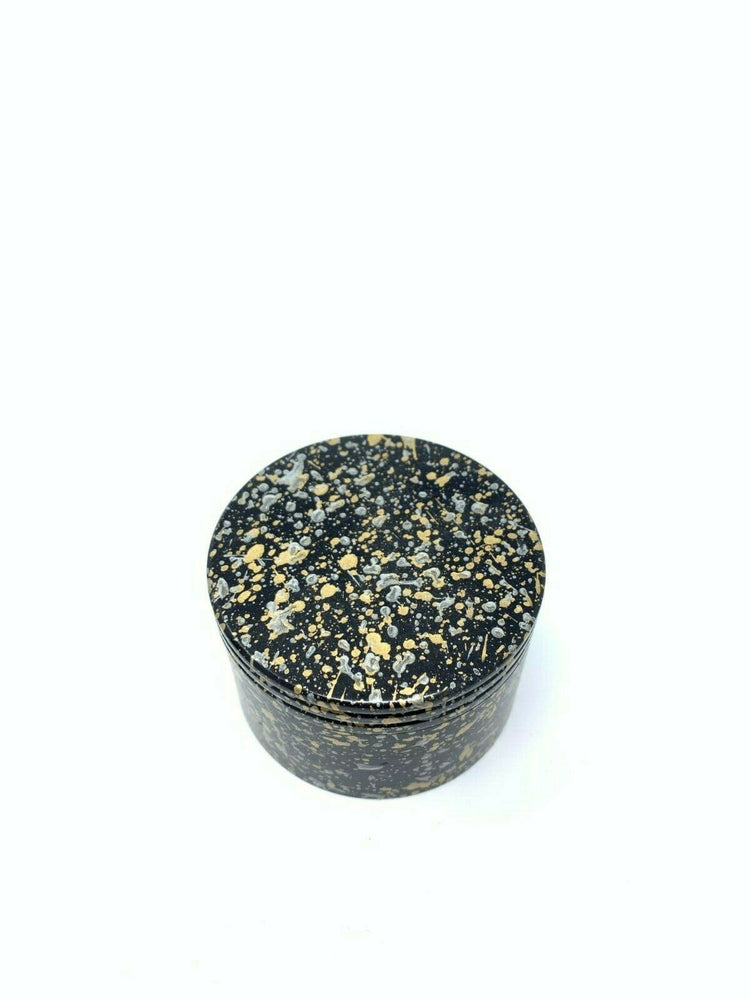 4 Piece Magnetic 2.25 Inch Black Confetti Metal Grinder