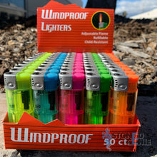 Load image into Gallery viewer, 50 Full Size Wind Proof Cigarette Lighter Wholesale Lot Assorted Colors