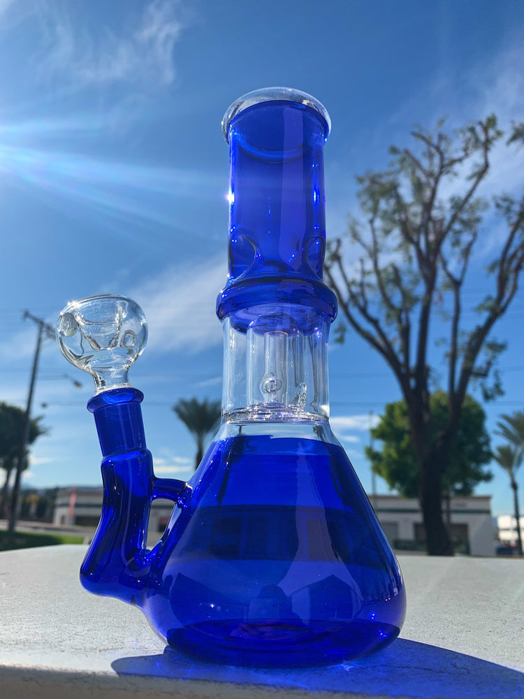 8 Inch Blue Side Joint Bong w/ Ice Catcher and Percolator
