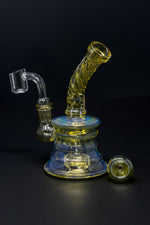 "6"" Fumed Twisted Neck Color Changing Dab Rig"