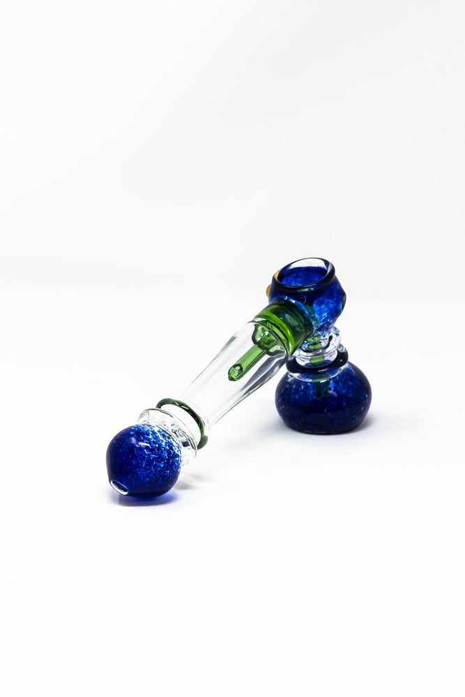 "7"" Premium Blue Glass Hammer Bubbler w/ Percolator"