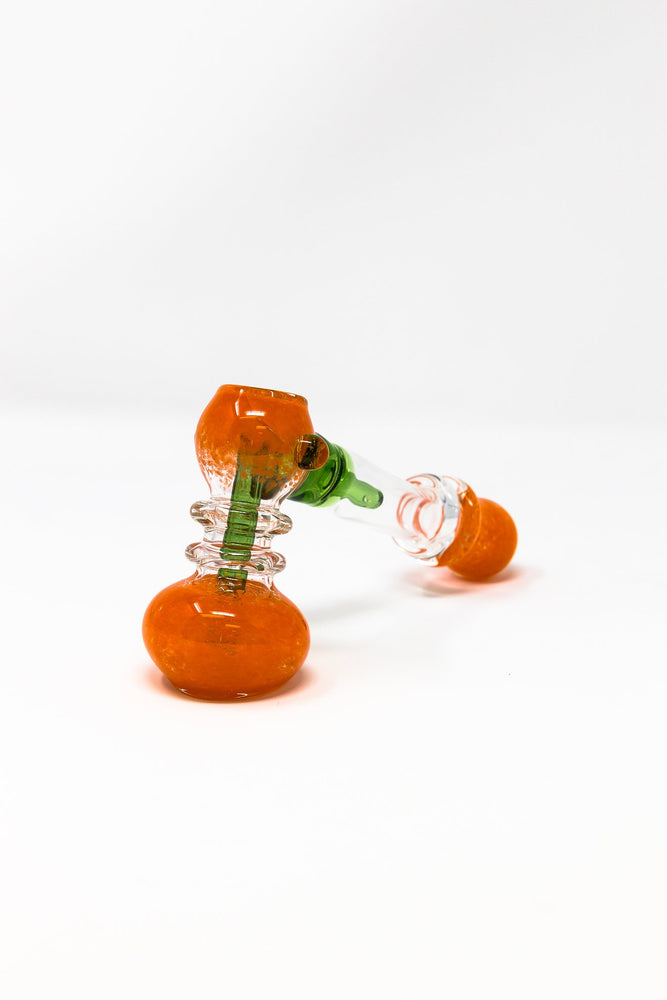 "7"" Premium Orange Glass Hammer Bubbler w/ Percolator"