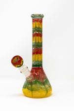 Heavy Glass Beaker Base Rasta Designer Bong