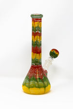 Saddle Brown and Heavy Glass Beaker Base Rasta Designer Bong