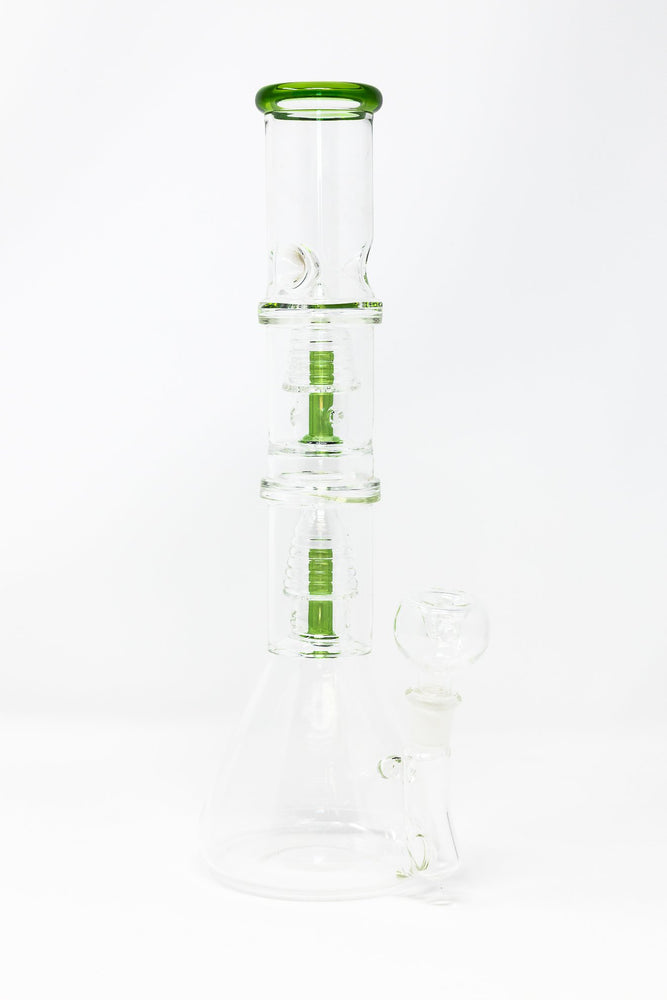 "White Smoke 12"" Double Percolator Premium Glass Beaker Base Bong w/ Ice Catcher StonedGenie.com Bong"