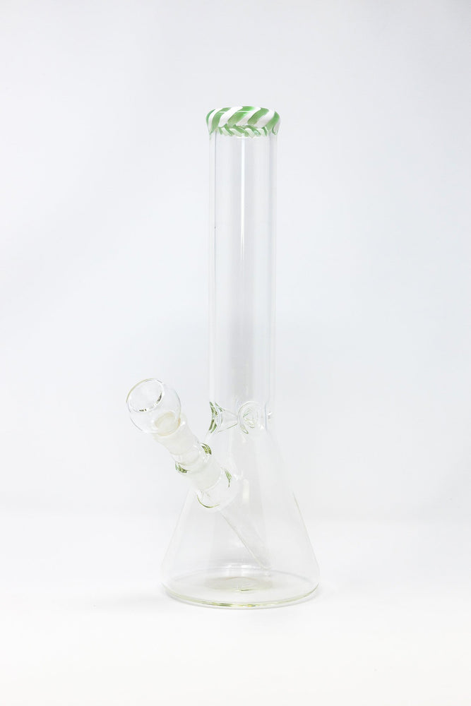 "12"" Heavy Thick Glass Bong Smoking Pipe Zebra Rim w/ ICE Catcher"