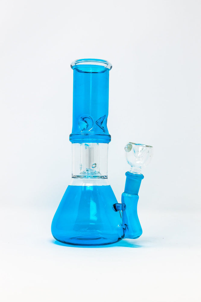 "Deep Sky Blue 8"" Teal Side Joint Beaker w/ Perk & Ice Catcher StonedGenie.com Bong"
