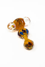 "4"" Handcrafted Orange Thick Glass Hand Pipe w/ Carb Hole"
