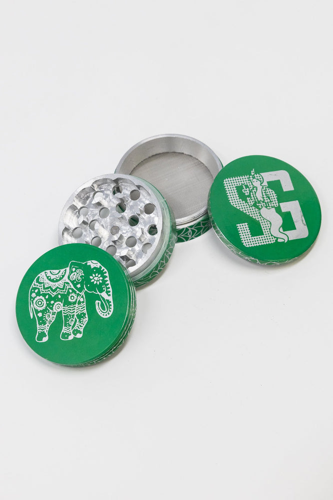 Sea Green 4 pc Green Magnetic Elephant Metal Grinder w/ Sharp Teeth StonedGenie.com Grinders