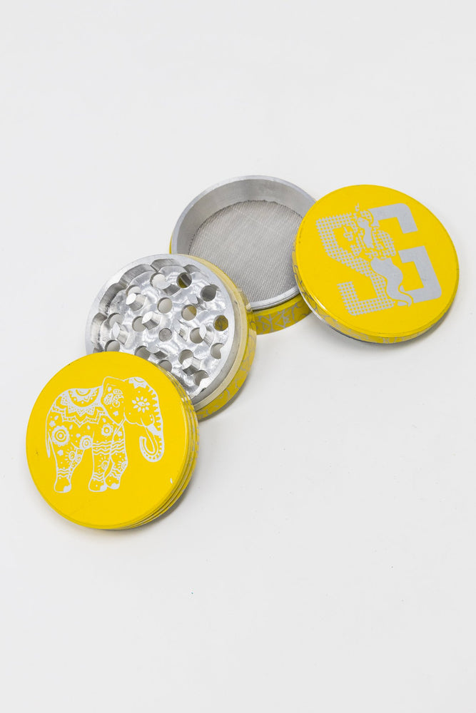 Gold 4 pc Yellow Magnetic Elephant Metal Grinder w/ Sharp Teeth StonedGenie.com Grinders