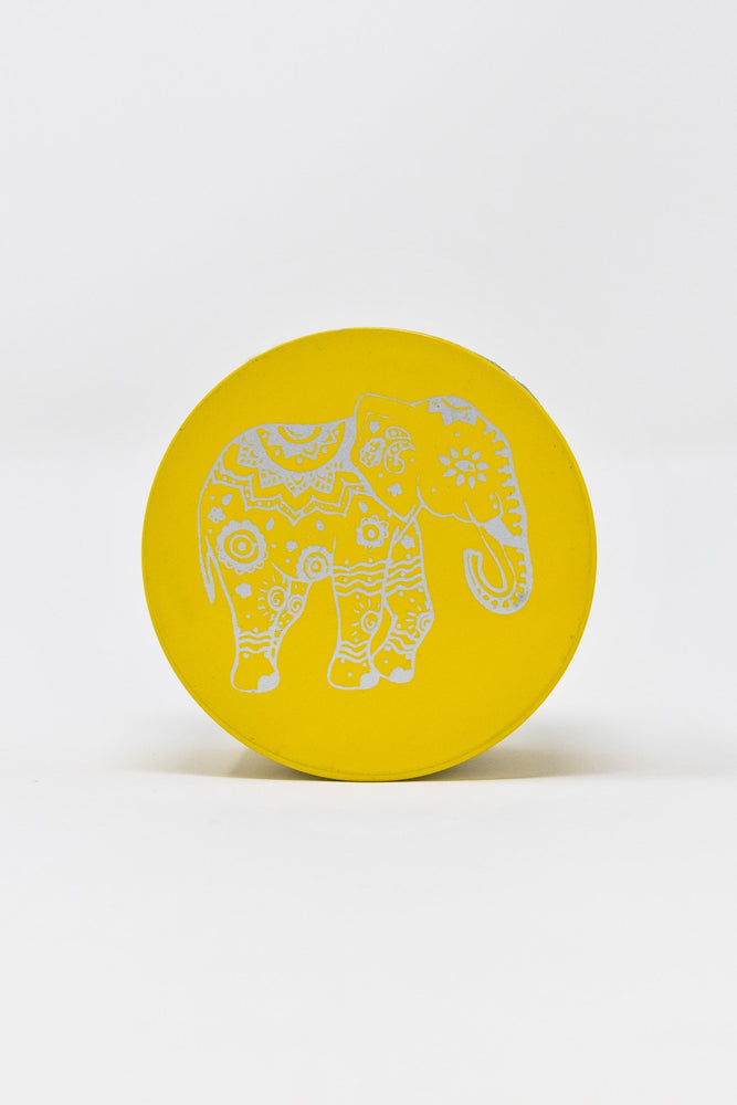 Goldenrod 4 pc Yellow Magnetic Elephant Metal Grinder w/ Sharp Teeth StonedGenie.com Grinders