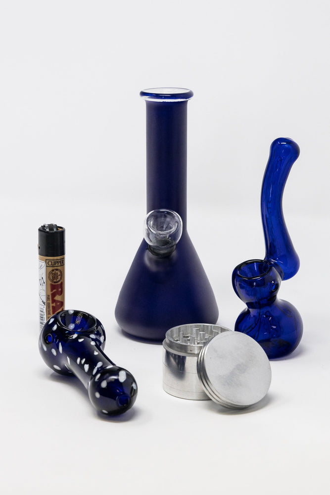 "6"" Stoned Genie Blue Bong Combo Set"