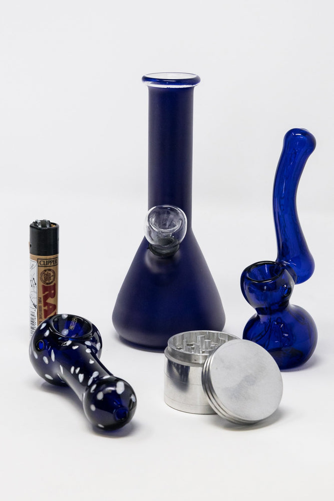 "Midnight Blue 6"" Stoned Genie Blue Bong Combo Set StonedGenie.com Combo"