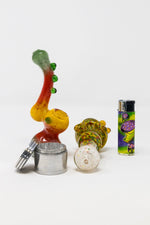 Gold Stoned Genie Rasta Bubbler Combo Set